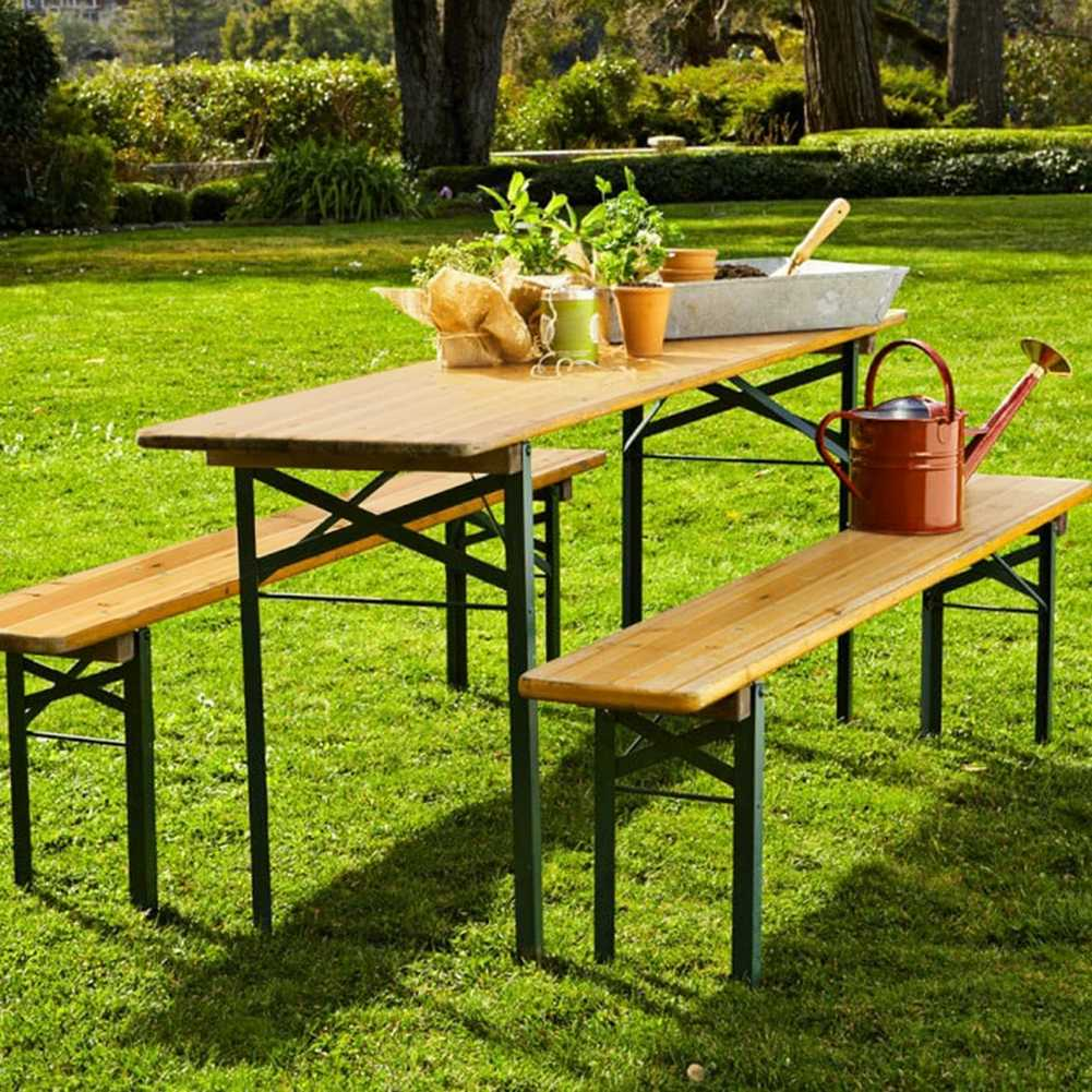 Folding Wooden Beer Table And Benches, Folding Wooden Table For Garden